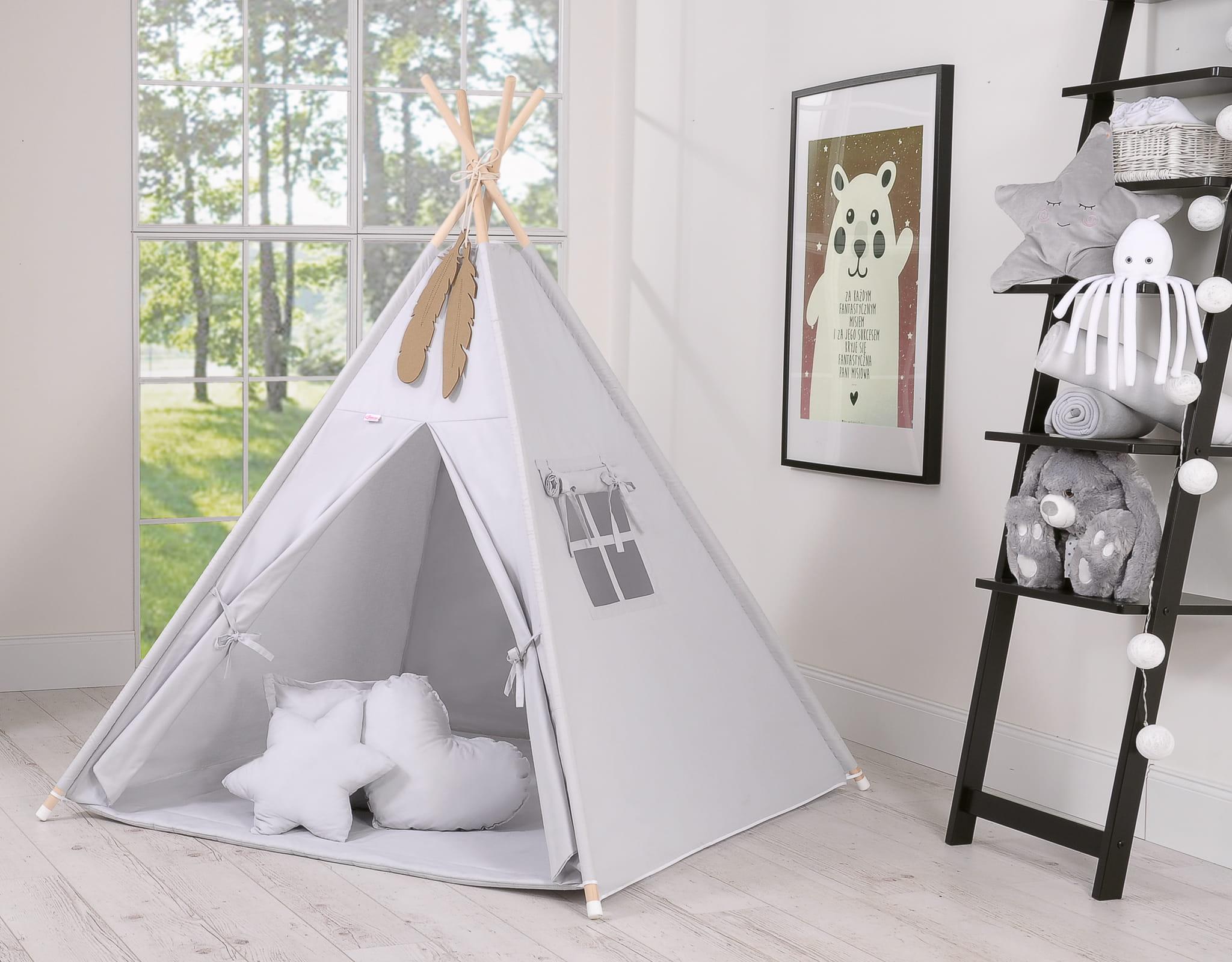 Namiot Tipi dla dzieci wigwam szary w gwiazdki XXL SZARY